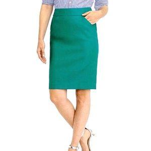 J. Crew Factory Green Double Serge Pencil Skirt